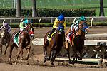 ARCADIA, CA. SEPTEMBER 30: #4 Vale Dori, ridden by Joseph Talamo, battles #1 Shenandoah Queen, ridden by Tyler Baze, with #5 Lemoona, ridden by Flavien Prat, hot on their heels in the Zenyatta Stakes (Grade l) on September 30, 2018, at Santa Anita Park in Arcadia, CA.(Photo by Casey Phillips/Eclipse Sportswire/CSM)