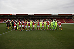 Kidderminster Harriers 3 Gainsborough Trinity 0, 19/11/2016. Aggborough, National League North. The two teams exchanging pre-match handshakes on the pitch at Aggborough, home of Kidderminster Harriers (in red) before they played visitors Gainsborough Trinity in a National League North fixture. Harriers were formed in 1886 and have played at their current home since 1890. They won this match  by 3-0 watched by a crowd of 1465. Photo by Colin McPherson.