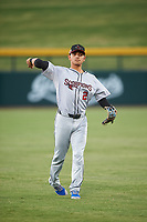 Scottsdale Scorpions infielder Andres Gimenez (2), of the New York Mets organization, warms up before an Arizona Fall League game against the Mesa Solar Sox on September 18, 2019 at Sloan Park in Mesa, Arizona. Scottsdale defeated Mesa 5-4. (Zachary Lucy/Four Seam Images)