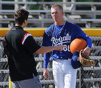 July 22, 2009: J.J. Cooper of Baseball America interviews Burlington Royals LHP John Lamb (66) prior to a game at Burlington Athletic Stadium in Burlington, N.C. Photo by:  Tom Priddy/Four Seam Images