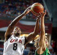 Rudy GAY (USA)  passes Simas JASAITIS (Lithuania)  during the semi-final World championship basketball match against Lithuania in Istanbul, USA-Lithuania, Turkey on Saturday, Sep. 11, 2010. (Novak Djurovic/Starsportphoto.com) .