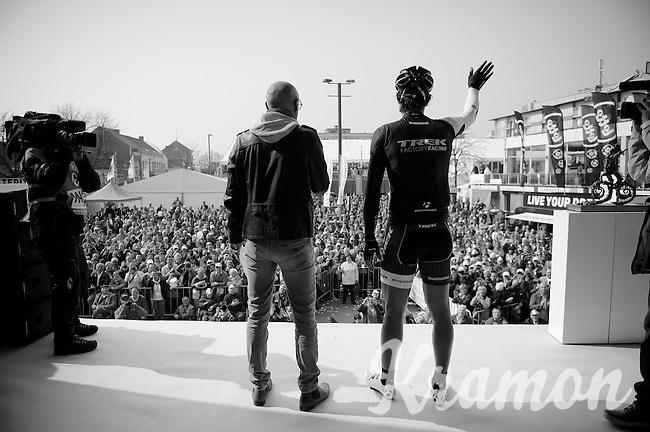 Fabian Cancellara (CHE/TrekFactoryRacing) waiving to the start crowd<br /> <br /> 57th E3 Harelbeke 2014