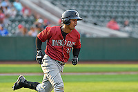 Yeison Melo (23) of the Idaho Falls Chukars  hustles down the first base line against the Ogden Raptors in Pioneer League action at Lindquist Field on September 3, 2016 in Ogden, Utah. The Chukars defeated the Raptors 3-0. (Stephen Smith/Four Seam Images)