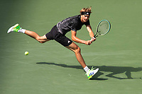 8th September 2021; New York, USA;  Alexander Zverev of Germany hits a return during the mens singles quarterfinals of the 2021 US Open against Lloyd Harris of South Africa in New York