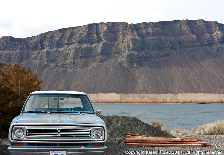 A 1973 Dodge pickup truck sits along the Columbia River in Schawana, Washington on February 8, 2011.  Owner Bruce Howden says it was bought for him by his father as a graduation present in 1973 and has 56,000 original miles on it. (photo credit Karen Ducey)
