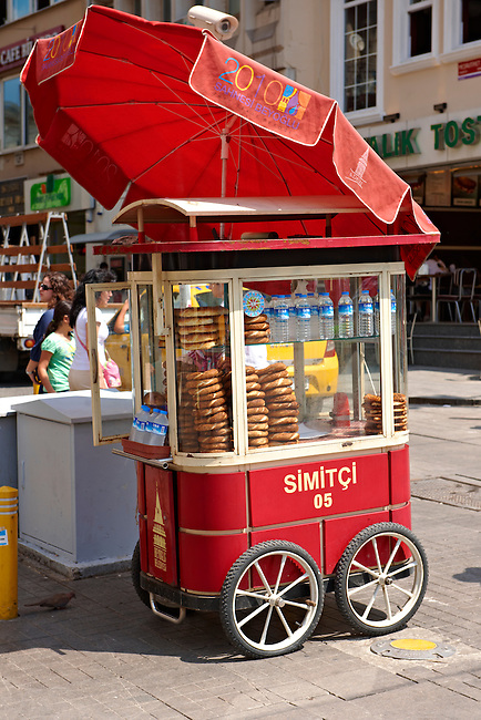 Traditional bread ring seller stiklal Avenue or Istiklal Street (stiklâl Caddesi, French: Grande Rue de Péra, or Independence Avenue)  one of the most famous avenues in Istanbul, Turkey