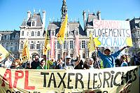 October 14 2017 PARIS FRANCE mobilization<br /> against the decline in housing allowance at the Hotel de Ville Paris.