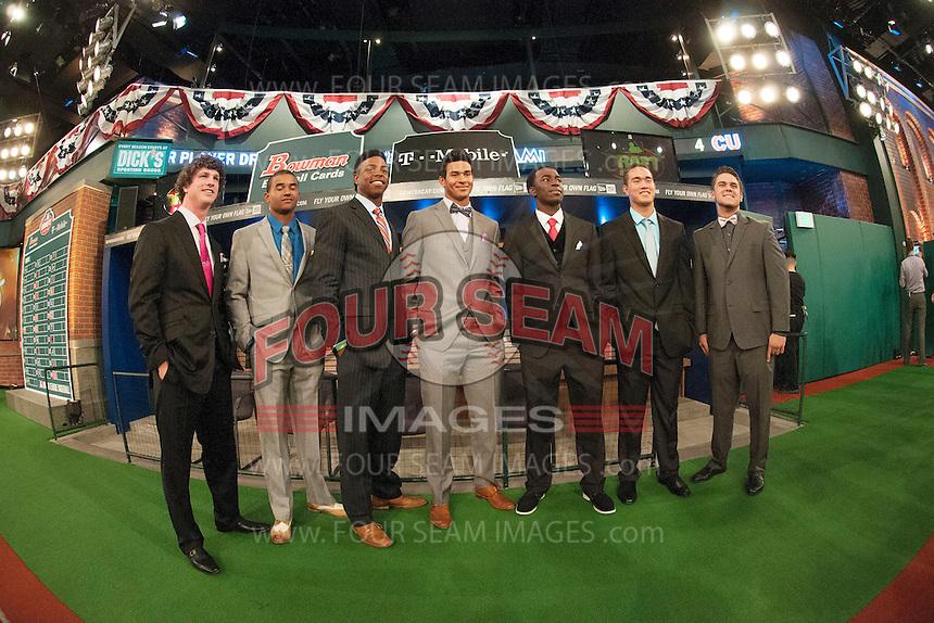 Grant Holmes (Conway H.S. (SC))  Los Angeles Dodgers, Derek Hill (Elk Grove H.S. (CA)) Detroit Tigers, Monte Harrison (Lee's Summit West H.S. (MO)) Milwaukee Brewers, Jacob Gatewood (Clovis H.S. (CA)) Milwaukee Brewers, Nick Gordon (Olympia H.S. (FL)) Minnesota Twins, Kodi Medeiros (Waiakea H.S. (HI)) Milwaukee Brewers, Michael Chavis  (Sprayberry Senior H.S. (GA) Boston RedSox during the MLB Draft on Thursday June 05,2014 at Studio 42 in Secaucus, NJ.   (Tomasso DeRosa/ Four Seam Images)