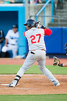 Michael Bernal (27) of the Brooklyn Cyclones at bat against the Hudson Valley Renegades at Dutchess Stadium on June 18, 2014 in Wappingers Falls, New York.  The Cyclones defeated the Renegades 4-3 in 10 innings.  (Brian Westerholt/Four Seam Images)