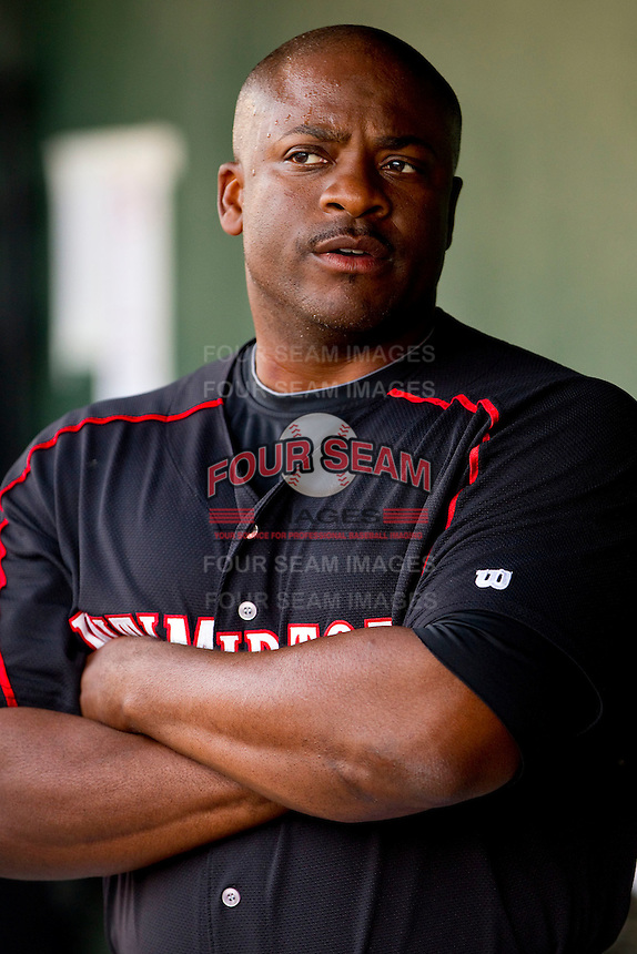 Kannapolis Intimidators hitting coach Charles Poe #30 during the South Atlantic League game against the Delmarva Shorebirds at Fieldcrest Cannon Stadium on May 23, 2011 in Kannapolis, North Carolina.   Photo by Brian Westerholt / Four Seam Images