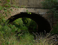 Summertime view of the old railroad trestle built in 1915 in Bangor, Michigan.
