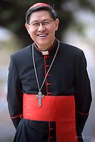 Cardinal Luis Antonio Gokim Tagle.Pope Francis visits the Roman parish of Santissimo Sacramento in the Rome  suburb Torre dei Schiavi, for a pastoral visit on May 6, 2018