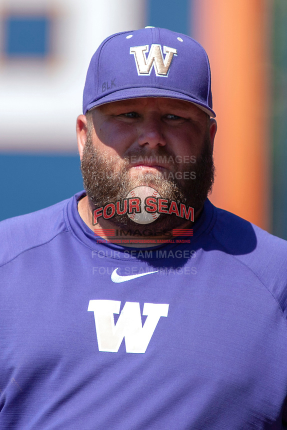 University of Washington Huskies associate head coach Jason Kelly prior to the game against the Cal State Fullerton Titans at Goodwin Field on June 09, 2018 in Fullerton, California. The Cal State Fullerton Titans defeated the University of Washington Huskies 5-2. (Donn Parris/Four Seam Images)