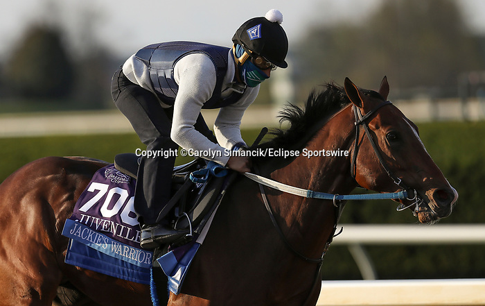 November 1, 2020: Jackie's Warrior, trained by trainer Steven M. Asmussen, exercises in preparation for the Breeders' Cup Juvenile at Keeneland Racetrack in Lexington, Kentucky on November 1, 2020. Carolyn Simancik/Eclipse Sportswire/Breeders Cup