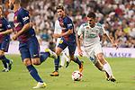 Real Madrid's Dani Ceballos and FC Barcelona's Sergi Roberto during Supercup of Spain 2nd match at Santiago Bernabeu Stadium in Madrid, Spain August 16, 2017. (ALTERPHOTOS/Borja B.Hojas)