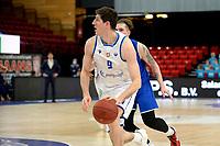 27-03-2021: Basketbal: Donar Groningen v Den Helder Suns: Groningen Donar speler Damjan Rudez met Den Helder speler Ben Kovac