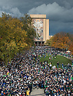 Oct. 20, 2012; Fans line up to greet the football team as they walk into Notre Dame Stadium...Photo by Matt Cashore.