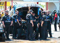 Apr 14, 2019; Baytown, TX, USA; Crew members for NHRA funny car driver Shawn Langdon during the Springnationals at Houston Raceway Park. Mandatory Credit: Mark J. Rebilas-USA TODAY Sports