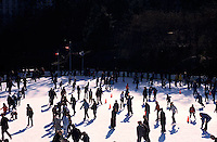 Ice skaters in Wollman Rink, Central Park, New York<br />
