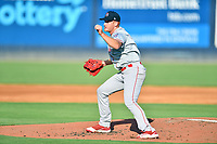Greenville Drive starting pitcher Brandon Walter (37) delivers a pitch during a game against the Asheville Tourists on July 13, 2021 at McCormick Field in Asheville, NC. (Tony Farlow/Four Seam Images)
