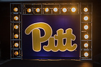 The Pitt sign serves as a backdrop for when the team takes the field. The Pitt Panthers defeated the Marshall Thundering Herd 43-27 on October 1, 2016 at Heinz Field in Pittsburgh, Pennsylvania.