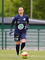 goalkeeper Nicky Evrard (1) of AA Gent with the ball during a female soccer game between Oud Heverlee Leuven and AA Gent Ladies on the 9 th matchday of play off 1 in the 2020 - 2021 season of Belgian Womens Super League , saturday 22 nd of May 2021  in Heverlee , Belgium . PHOTO SPORTPIX.BE   SPP   SEVIL OKTEM
