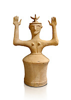 Minoan Postpalatial terracotta  goddess statue with raised arms and horn crown,  Karphi Sanctuary 1200-1100 BC, Heraklion Archaeological Museum, white background. <br /> <br /> The Goddesses are crowned with symbols of earth and sky in the shapes of snakes and birds, describing attributes of the goddess as protector of nature.