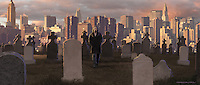 This represents the end of a VFX sequence. As Peter walks through the cemetery present day New York City rises behind him showing the passage of 100 years.