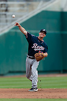 Reno Aces shortstop Kelby Tomlinson (57) during a game against the Fresno Grizzlies at Chukchansi Park on April 8, 2019 in Fresno, California. Fresno defeated Reno 7-6. (Zachary Lucy/Four Seam Images)