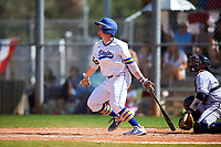 South Dakota State Jackrabbits Braeden Brown (32) bats during a game against the FIU Panthers on February 23, 2019 at North Charlotte Regional Park in Port Charlotte, Florida.  South Dakota State defeated FIU 4-3.  (Mike Janes/Four Seam Images)