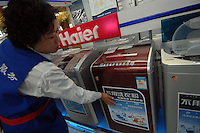 A Haier detergent-free washing machine being sold in the Suning electronic appliances superstore in Chengdu, China.