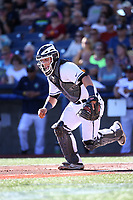Daulton Varsho (21) of the Hillsboro Hops chases down a bunt during a game against the Spokane Indians at Ron Tonkin Field on July 22, 2017 in Hillsboro, Oregon. Spokane defeated Hillsboro, 11-4. (Larry Goren/Four Seam Images)