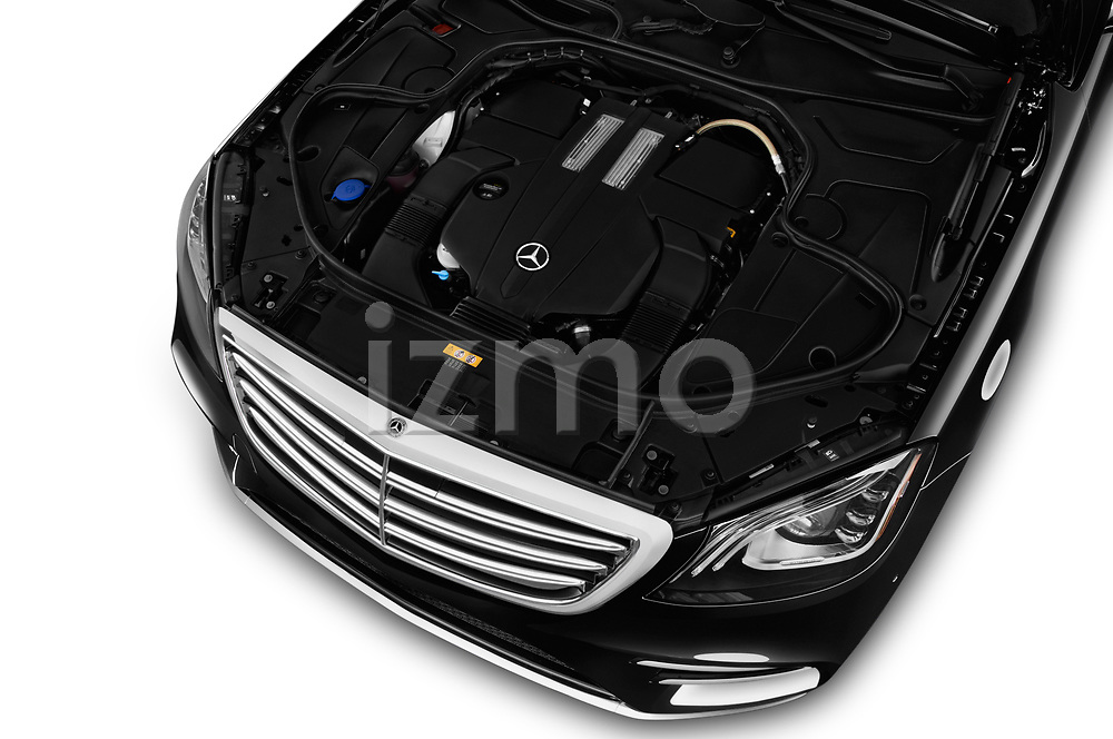 Car Stock 2018 Mercedes Benz S-Class 450 4 Door Sedan Engine  high angle detail view