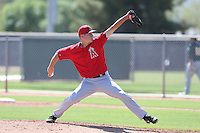 Drew Rucinski #25 of the Los Angeles Angels pitches during a Minor League Spring Training Game against the Oakland Athletics at the Los Angeles Angels Spring Training Complex on March 17, 2014 in Tempe, Arizona. (Larry Goren/Four Seam Images)