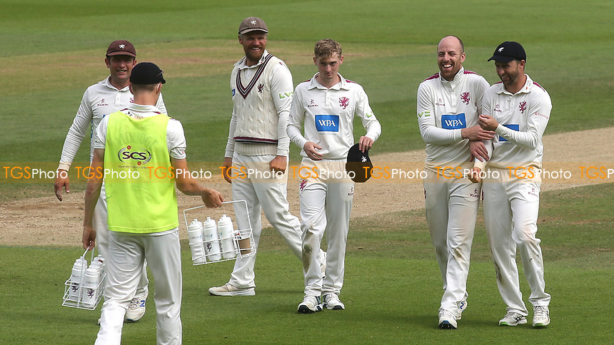 Jack Leach of Somerset celebrates taking the wicket of Surrey batsman, Jamie Smith during Surrey CCC vs Somerset CCC, LV Insurance County Championship Group 2 Cricket at the Kia Oval on 13th July 2021