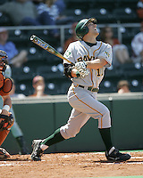 Baylor OF Aaron Miller follows through against Texas on Saturday May 3rd, 2008. Photo by Andrew Woolley / Four Seam Images.