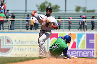 Hagerstown Suns shortstop Wilmer Difo (6) attempts to turn a double play as Ramon Torres (2) slides in during a game against the Lexington Legends on May 19, 2014 at Whitaker Bank Ballpark in Lexington, Kentucky.  Lexington defeated Hagerstown 10-8.  (Mike Janes/Four Seam Images)