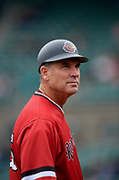 Rochester Red Wings manager Joel Skinner (35) during an International League game against the Charlotte Knights on June 16, 2019 at Frontier Field in Rochester, New York.  Rochester defeated Charlotte 11-5 in the first game of a doubleheader that was a continuation of a game postponed the day prior due to inclement weather.  (Mike Janes/Four Seam Images)
