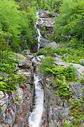 Silver Cascade in Crawford Notch State Park, New Hampshire USA during the spring months.
