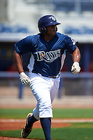 GCL Rays designated hitter Devin Davis (32) runs to first during the first game of a doubleheader against the GCL Red Sox on August 4, 2015 at Charlotte Sports Park in Port Charlotte, Florida.  GCL Red Sox defeated the GCL Rays 10-2.  (Mike Janes/Four Seam Images)