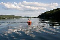 Kayaks on lake, Stockbridge Bowl, Berkshire hills, Lenox, MA