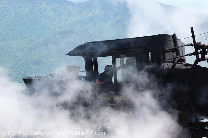 The Mount Washington Cog Railway on the summit of Mount Washington in the White Mountains, New Hampshire. Completed in 1869, this three mile railroad leads to the summit of Mount Washington. This is the Kancamagus locomotive.