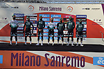 Bora-HAnsgrohe at sign on before the 112th edition of Milan-San Remo 2021, running 299km from Milan to San Remo, Italy. 20th March 2021. <br /> Photo: Tommaso Pelagalli/BettiniPhoto   Cyclefile<br /> <br /> All photos usage must carry mandatory copyright credit (© Cyclefile   Tommaso Pelagalli/BettiniPhoto)