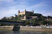 Bratislava, Slovakia; Bratislava Castle from the river.