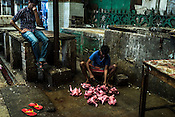 A customer holds his nose for foul smell while a butcher cleans chicken for him at a stall in the New Market area of Kolkata, West Bengal, India,