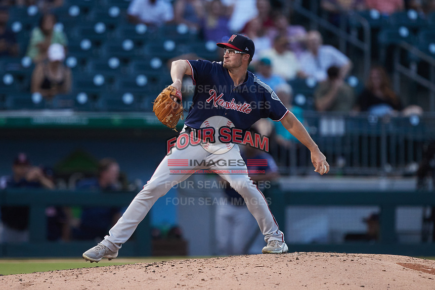 Nashville Sounds starting pitcher Aaron Ashby (22) in action against the Charlotte Knights at Truist Field on June 4, 2021 in Charlotte, North Carolina. (Brian Westerholt/Four Seam Images)