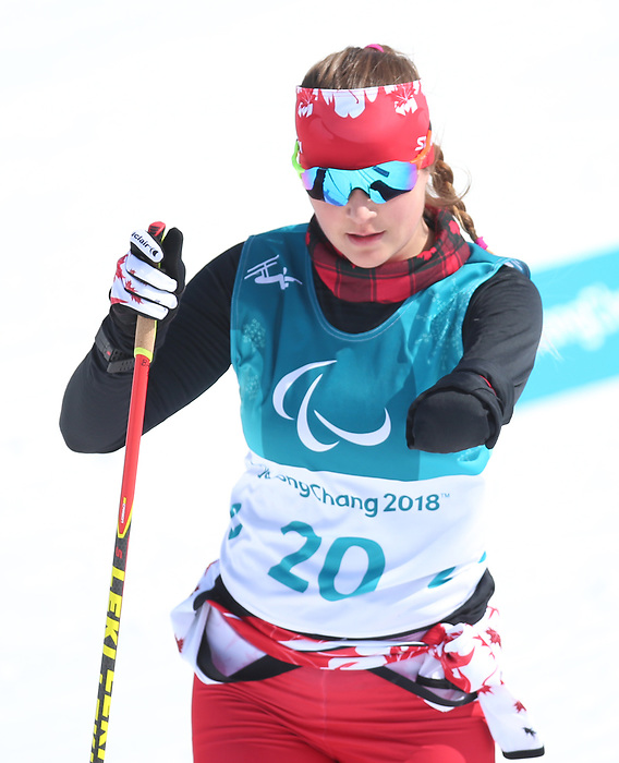 Brittany Hudak, PyeongChang 2018. Para Nordic Skiing // Ski paranordique.<br /> Brittany Hudak competes in the womens 6km standing event // Brittany Hudak participe au 6 km debout féminin. 10/03/2018.