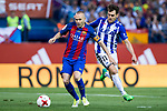 Andres Iniesta of FC Barcelona holds off pressure from  Ibai Gomez of Club Deportivo Alaves during the match of  Copa del Rey (King's Cup) Final between Deportivo Alaves and FC Barcelona at Vicente Calderon Stadium in Madrid, May 27, 2017. Spain.. (ALTERPHOTOS/Rodrigo Jimenez)