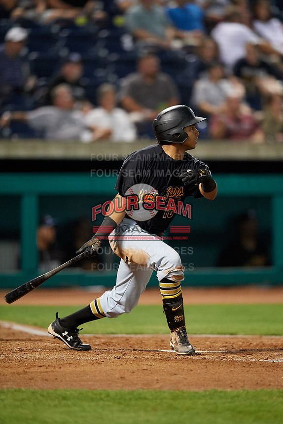 West Virginia Black Bears left fielder Edison Lantigua (18) follows through on a swing during a game against the State College Spikes on August 30, 2018 at Medlar Field at Lubrano Park in State College, Pennsylvania.  West Virginia defeated State College 5-3.  (Mike Janes/Four Seam Images)
