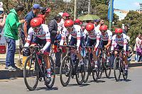TUNJA - COLOMBIA, 11-02-2020: UAE TEAM EMIRATES (UAE) durante la primera etapa del Tour Colombia 2.1 2020 con un recorrido de 16,7 km CRE, que se corrió con salida y llegada enTunja, Boyacá. / UAE TEAM EMIRATES (UAE) during the first stage of 16,7 km TTT of Tour Colombia 2.1 2020 that ran with start and arrival in Tunja, Boyaca.  Photo: VizzorImage / Darlin Bejarano / Cont